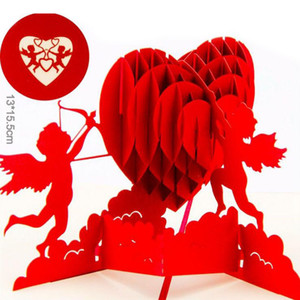 Wholesale Heart D Greeting Card Pop Up Paper Laser Cut Postcard Birthday Valentines Party Gift For Lover Wedding Invitation ZA5975