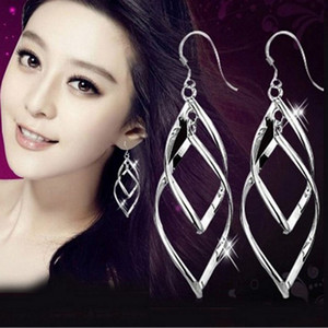 Wholesale 1 Pair Pretty Women Silver Plated Dangle Twisted Leaf Big Dangle Earrings For Women Hoop Ear Stud Jewelry Wedding Jewelry