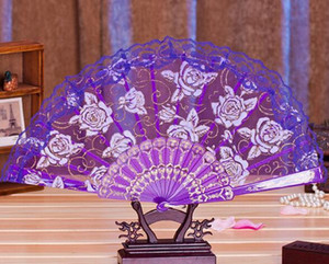 Wholesale Hot Lace Fabric Silk Folding Hand Held Dance Fans Flower Party Wedding Prom