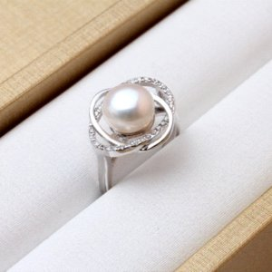 Wholesale Real Ring Pearl Jewelry natural Pearl rings for love Freshwater Pearl Silver ring ruby silver rings for women gift box