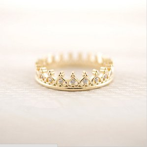 wholesale 10 pce lot mix color New Wedding Jewelry k-pop Cz Crown Ring Finger Rings Free Shipping