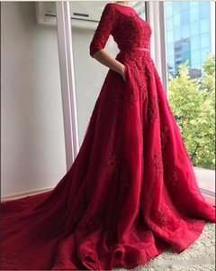 Wholesale 2018 Dark Red Lace Half Sleeves Evening Dress with Pocket Cover Back Sweep Train Long Bride Prom Party Gown Formal Dresses Custom Made