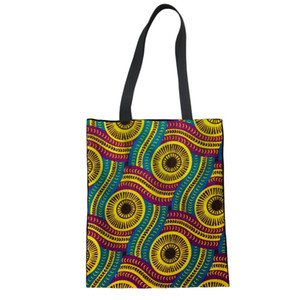 Wholesale African traditional printed Reusable Canvas Shopping Bags Women Ladies Big Grocery Tote Bag Canvas Folding Eco Handbag