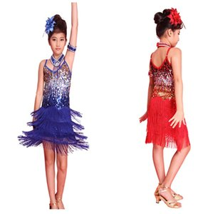 Wholesale 2017 New Hot Sale Girls Latin Dance Tango Sequin Dancing Children Girl Fairy Dresses Costume For Young Children Hot