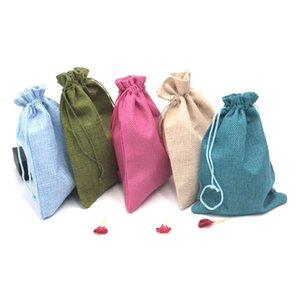 Wholesale High Quality Handmade Linen x18cm Jute Bag Custom Logo Print Pouch Drawstring Bags For Wedding Party Gifts