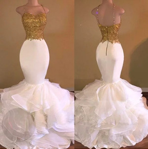Wholesale 2018 Slim Fit Prom Dresses Gold Applique Beaded Sequins Ruffle Backless Spaghetti Sexy African Evening Gowns Real Pictures Plus Size Dress