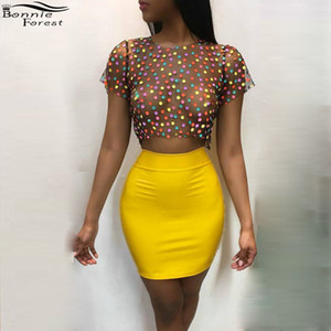 Wholesale Bonnie Forest Sexy High Waist Yellow Mini Skirt See Through Dot Printed Tops Women s Party Nightclub Two Piece Set Outfit