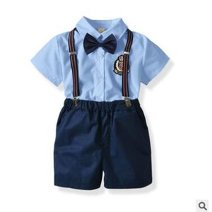 Wholesale Baby Boy Clothes Outfits Summer Short Sleeve Newborn Baby Infant Clothing Sets Gentleman Shirt Tops Bow Tie Suspender Shorts M Y