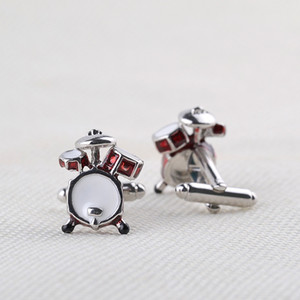 Wholesale Silver Note Slur Treble Clef Red Drums Kit Cufflinks For Mens Shirt Jewelry Fashion Music Twins Cufflinks Buttons pairs Christmas Gift