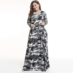 Wholesale Europe and the United States large size autumn and winter wear female fat mm skirt new camouflage dress long skirt