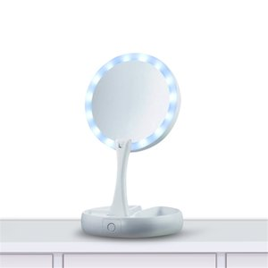 Adjustable Portable Mirror My Fold Away LED Makeup Mirror Professional 10X Vanity Mirror with Lights Health Beauty Tool on Sale