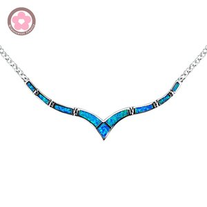 Wholesale whole saleJZN0009 Unique Design Hot Sale Blue Fire Opal Gem Link Chain Silver Necklaces Pendants for Women Fashion Jewelry OL Style