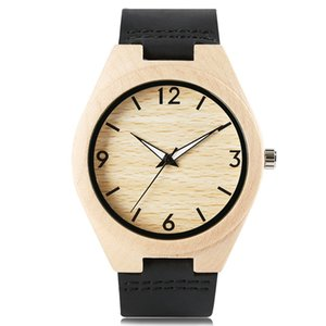 New Wood Watch Men with Black Genuine Leather Band Strap Sports Watches Big Face White Analog Dial Quartz Wristwatch Simple Casual Clock
