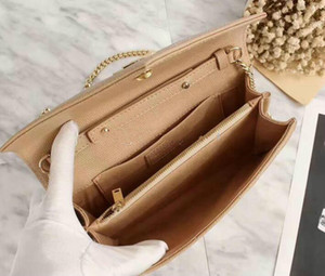 Wholesale 2017 new style Designer Top Quality lady chain cluth handbag fashion nude genuine Caviar Leather small bag Inclined shoulder bag for women