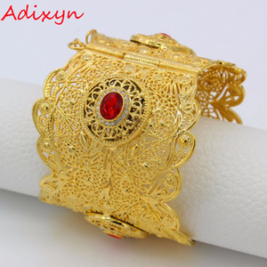 Wholesale Adixyn MM Big Bangle Women Gold Color Dubai Style Jewelry Luxury African Wedding Bracelets W Stone Arab Middle East N13012