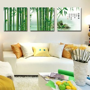 Wholesale Chinese Style Green Bamboo Letters Fashion Home Decoration Modern Piece Canvas Wall Art Painting Wall Pictures for Living Room