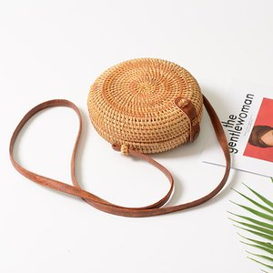 Wholesale Handmade Rattan Woven Round Women Crossbody Bag Vintage Retro Straw Square Box Messenger Bag Lady Summer Cute Beach Shoulder Bag D18101303