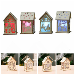 Wholesale Light up Wooden Christmas Decorations elk sled Ornaments christmas chalet light Santa Wooden House pendant Craft Xmas Tree Decor