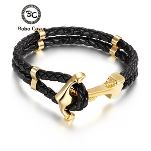 Wholesale Punk Multilayer Genuine Leather Stainless Steel charm Bracelets Hope couple Anchor bracelets bangles for Men women jewelry Gifts