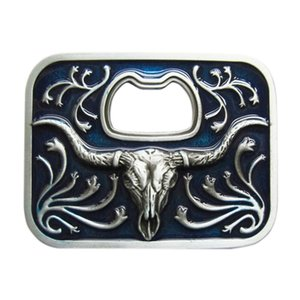 New Vintage Blue Enamel Western Long Horn Bull Bottle Opener Western Wildlife Vintage Wedding Cosplay Costume Belt Buckle Gurtelschnalle