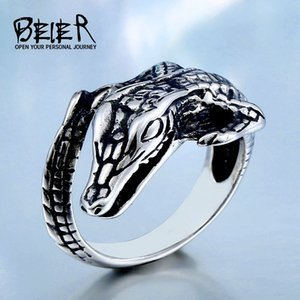 Wholesale Beier Store New Stainless Steel lizard Biker Animal Ring for man women Fashion Vintage D Jewelry dropshipping BR Q025