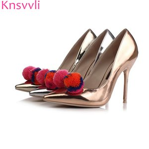 Wholesale Coloured Hair ball Sexy High Heel Shoes Women Silver Specular Pointy Toe Women Pumps Fashion Slip On Dinner Party Shoes