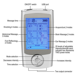 Wholesale Digital Modes Portable Electric Pulse TENS EMS Massager Machine LCD Screen Therapy Modes Dual Output Massage Tool