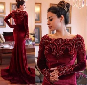 Burgundy Velvet Evening Dresses Sexy Mermaid With Long Sleeves Peals Beaded Arabic Prom Dresses Party Gown vestidos festa With Sweep Train on Sale