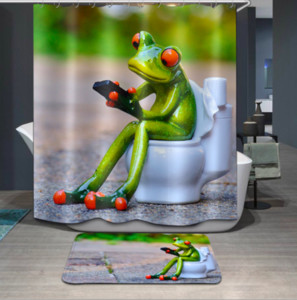 shower curtain for the bathroom polyester waterproof printed 3d lovely frog shower curtain floor mats sets