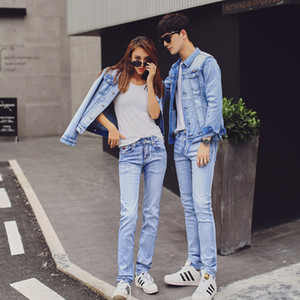 A pair of jeans and ladies' jeans jacket set of 2018, quality new style and Korean version of slim jeans trousers, school class uniform, two