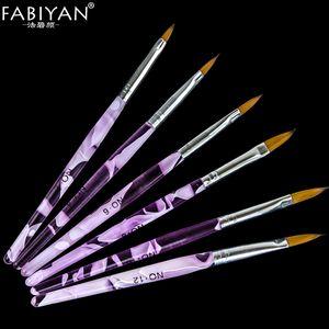 New 6 PCS Acrylic Kolinsky Sable Nail Art Flat Brush Design Dotting Painting Drawing Crystal Pen Set Carving Salon Tips Builder