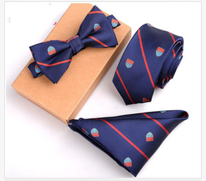 Wholesale 12 Style Slim Tie Set Men Bow Tie and Pocket Square Bowtie Necktie Cravate Handkerchief Papillon Man Corbatas Hombre Pajarita
