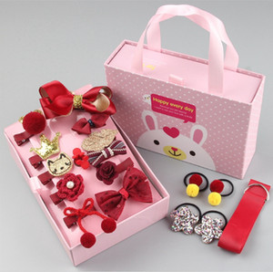 The Latest Children's Hair Card,suit,There are 18 small items inside, beautiful box packaging, Hair Card,hairpin