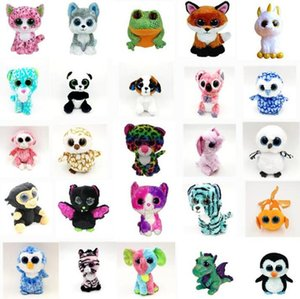 Wholesale 35 Design Ty Beanie Boos Plush Stuffed Toys cm Big Eyes Animals Soft Dolls for Kids Birthday Gifts ty toys OTH754