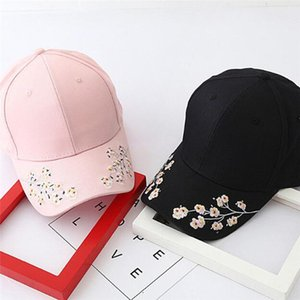 Female Black White Pink Embroidered Flower Pattern Baseball Cap Fashion Hat Spring Summer Autumn Accessories