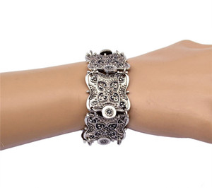 Wholesale H HYDE Punk Vintage Wide Cuff Bracelet Bohemian Ethnic Bracelet Coin Silver Color Wristband Bracelets For Women and Men
