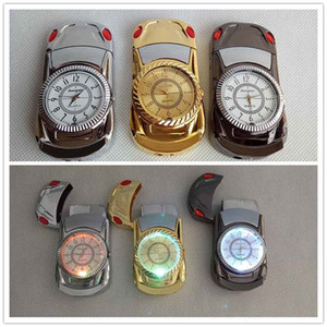 Car Shape Men Quartz Watch Sports Butane Cigarette Lighter With Led Refillable Windproof Smoking Lighter No Gas 3 colors Tools