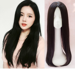 Wholesale 2018 Fashion Mono Lace hair toupee thin skin natural Hair Topper Long Hairpiece Top Women s Accessory Straight hair replacement clip closure