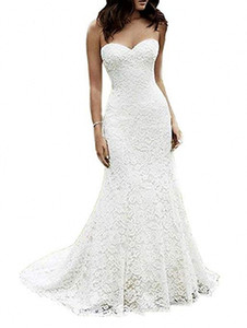 Women's Sweetheart Strapless Full Lace Beach Country Wedding Dress Mermaid Bridal Gown Garden Backless with Sweep Train