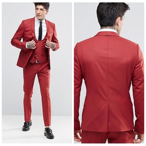 Wholesale 2018 Vintage Groom Red Tuxedos Shawl Lapel One Button Three Pockets Groom Suits Extremely Cool Best Man Suits Jacket Pants Vest