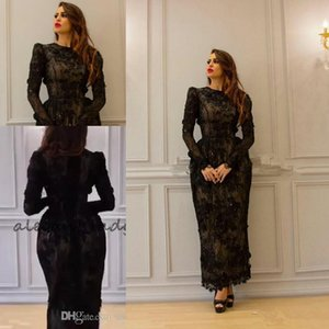Yousef Aljasmi Vintage Tea-length 3D Floral Evening Dresses with Long Sleeve 2018 Modest High Neck Full Back Dubai Arabic Prom Gowns on Sale