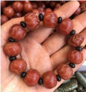 Wholesale natural Hand carved MM red yellow stone onyx bracelet