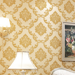 Wholesale damask metallic living room for sale - Group buy European Style D Damascus Wallpaper Luxury Golden Floral Living Room Bedroom TV Background Damask Wallpaper For Walls Roll