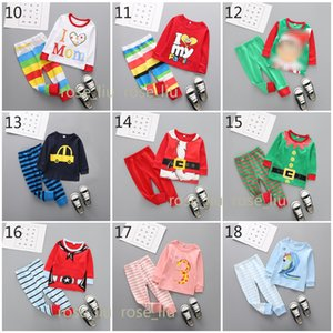 Wholesale 33 Design Boys Girls Christmas Pajamas New Children Santa Claus elk crocodile cartoon long sleeve tops Pants sets Suits B