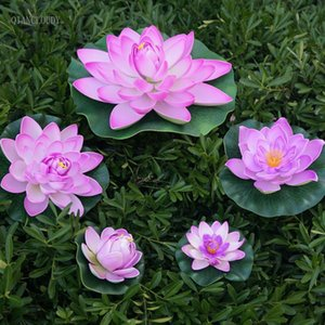 Wholesale loating flowers wedding Artificial Light Purple Lotus Leaves fake ponds flowers Water Lily Floating swimming Pool home garden Plants Wedd