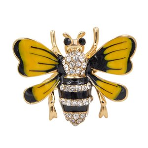 Wholesale Young Tulip New Arrival Cute Yellow Bee Pins Alloy Enamel Brooch For Women Girls Fashion Jewelry Accessories High Quality