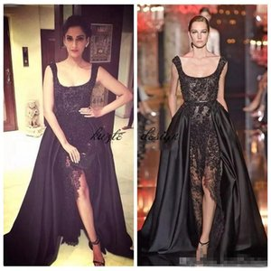 Wholesale 2018 Elie Saab Sonam Kapoor Occasion Prom Gowns Hot Sexy Black Lace Pearls Crystal over skirts Split Evening Dresses Dubai Saudi Arabic