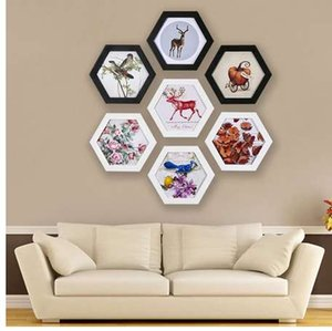 Wholesale Fashion Hexagon Photo Frame Wedding Picture Frame Wall Mounted Home Family Art Picture Holder Home Decoration Wedding Gift