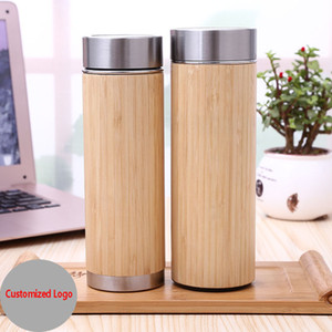 Wholesale Wooden Bamboo Water Bottle Vacuum Stainless Steel Insulated Cooler Thermos Mug Cup Tea Strainer Kettle Drinking Water Cups HH7