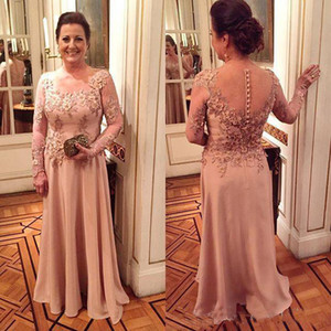 Wholesale 2018 Mother Of The Bride Dresses Jewel Neck Lace Appliques Flowers Long Sleeves Plus Size Evening Dress Wedding Guest Dress